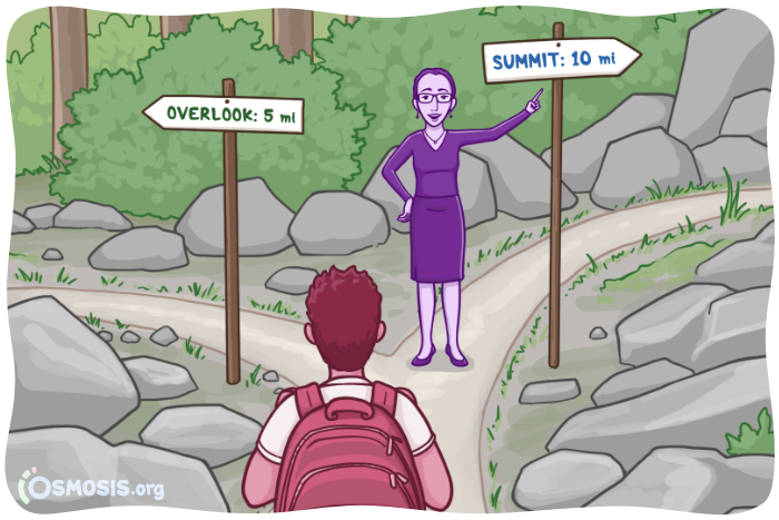 Osmosis illustration of a nursing student at a crossroads in their career.