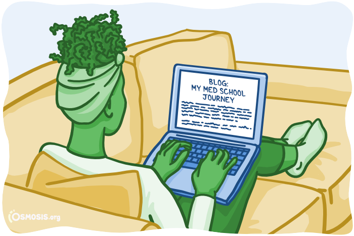 Osmosis illustration of a student writing a blog post.