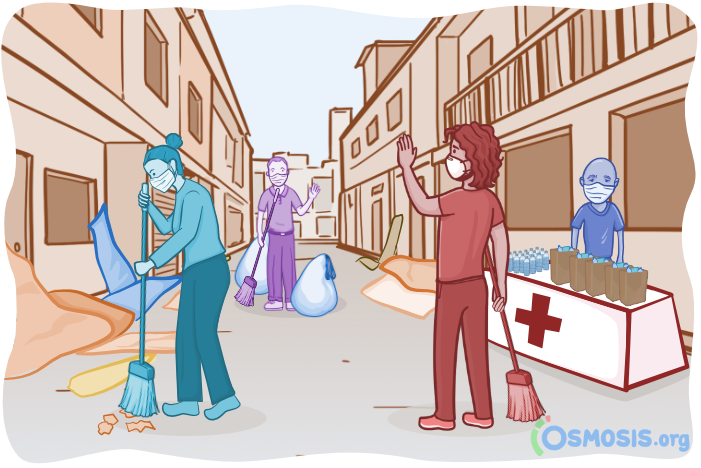 Osmosis illustration of a medical student helping with cleanup following the Beirut Explosion.