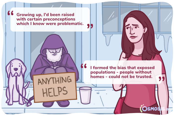 Illustration of a medical student feeling anxious around an unhoused person.