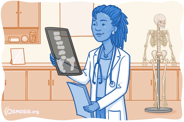 Illustration of a medical student examining an X-ray.