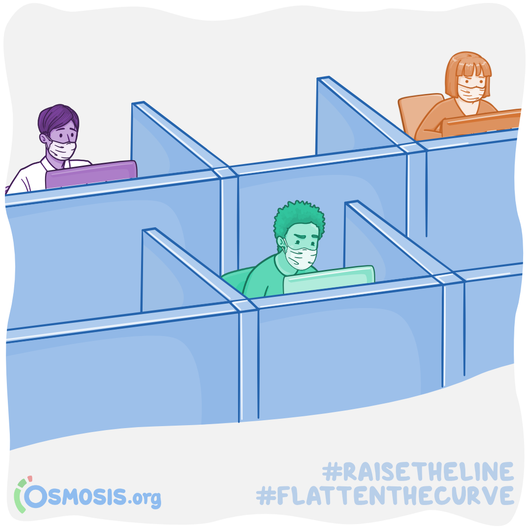 Osmosis illustration of students taking Step 1 at a test center while social distancing.