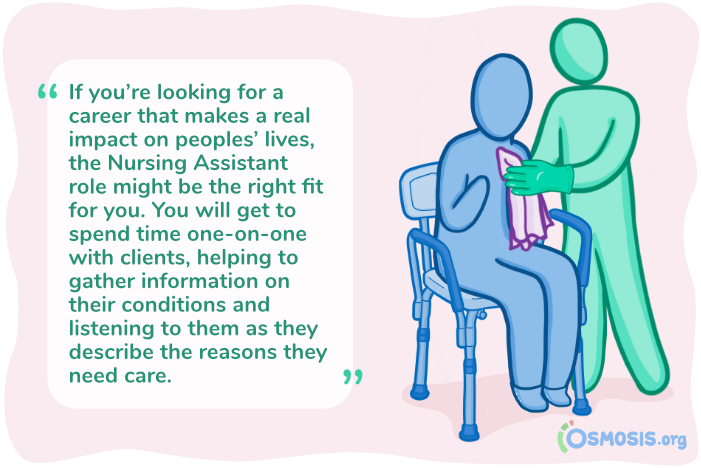 Osmosis illustration demonstrating a Nursing Assistant's impact on a client's life.